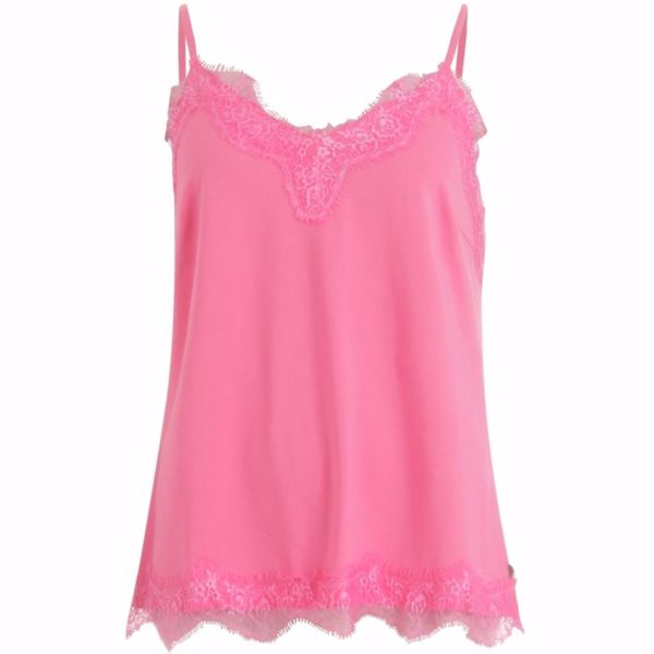 Coster Copenhagen Strap Top W. Lace Clear Pink