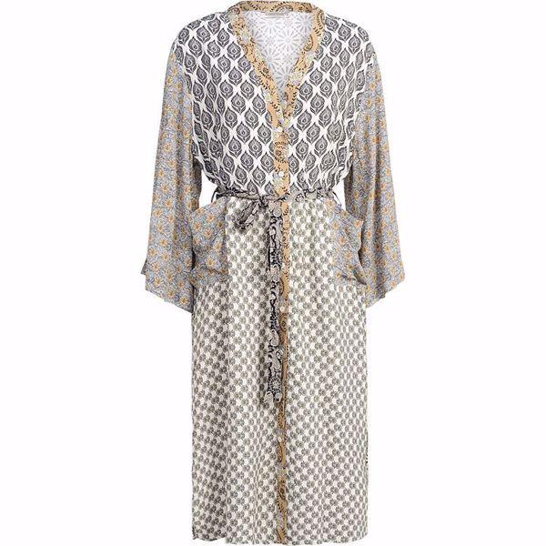 Summum Kimono Belled Patchwork White Sand
