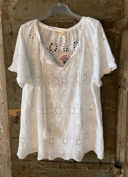 Cabana Living Bluse Broderi Anglise White