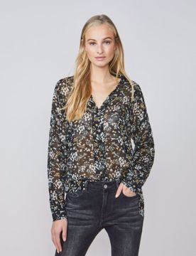Summum Bluse Small Flower Black