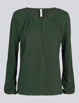 Summum Bluse W. Gathering Deep Green