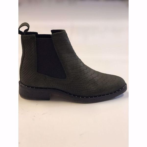 Copenhagen Shoes Støvler Bonnie Croco Suede Green