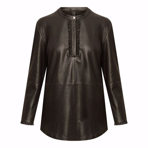 Depeche Skind Bluse W. Frills Dusty Taupe