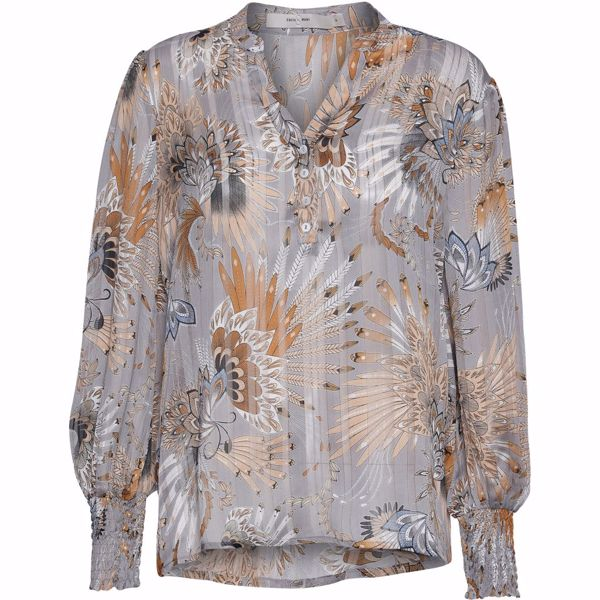 Costa Mani Bluse Alexia Grey Feather Print
