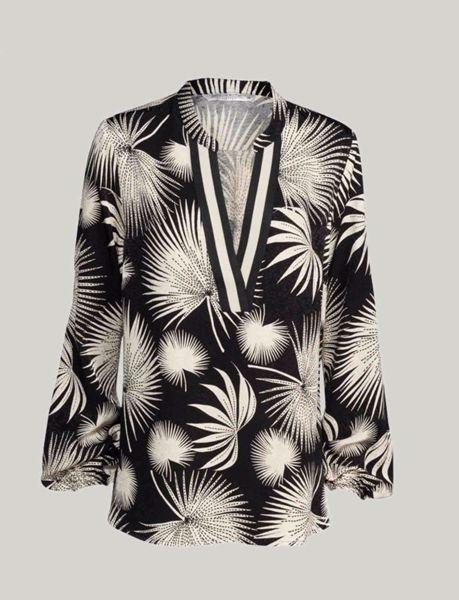 Summum Bluse Printed Jacquard Black
