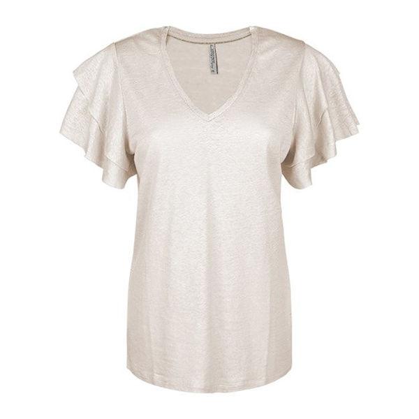 Summum T-shirt Ruffle Sleeve Ivory