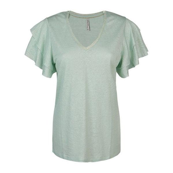 Summum T-shirt Ruffle Sleeve Soft Green Tea