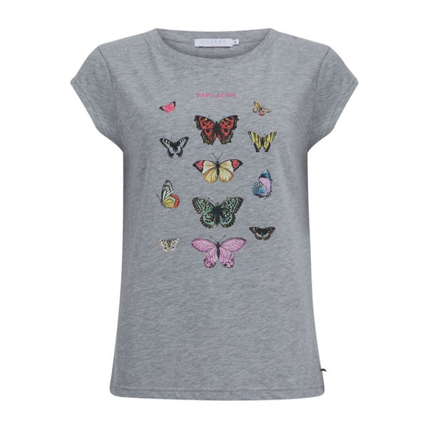 Coster Copenhagen T-shirt W. Butterfly Light Grey