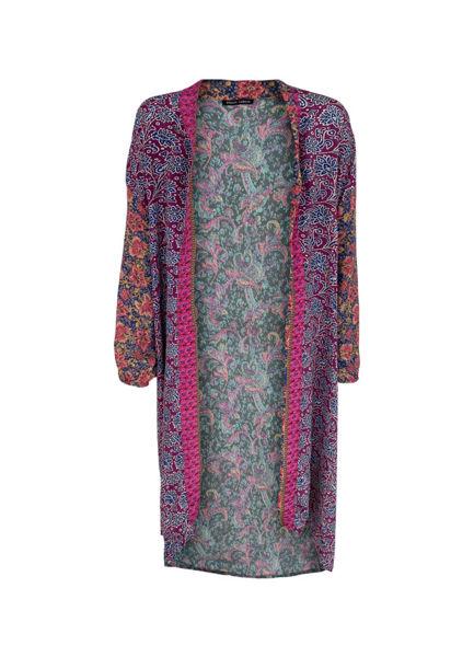 Black Colour Kimono Luna Long Fuchsia Bloom