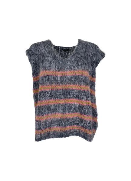 Black Colour Vest Gemma Grey/Pink